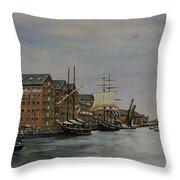 Tall Ships At Gloucester Docks Throw Pillow