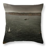 Tall Ships In The Entrance Of Sydney Harbour Throw Pillow