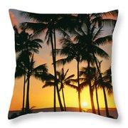 Tall Sunset Palms Throw Pillow