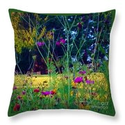 Tall Wisphy Flowers Of Pink Throw Pillow
