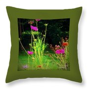 Tall Wispy Flowers In Pink Throw Pillow