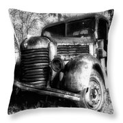Tam Truck Black And White Throw Pillow