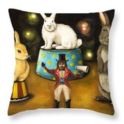 Taming Of The Giant Bunnies Throw Pillow by Leah Saulnier The Painting Maniac