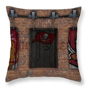 Tampa Bay Buccaneers Brick Wall Throw Pillow