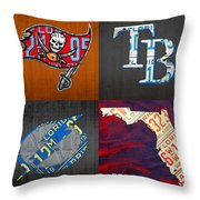 Tampa Bay Sports Fan Recycled Vintage Florida License Plate Art Bucs Rays Lightning Plus State Map Throw Pillow