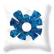 Tampa Cityscape And Streetmap Skyline Blue Throw Pillow