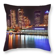Tampa Skyline At Night Early Evening Throw Pillow