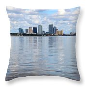 Tampa Skyline Over The Bay Throw Pillow