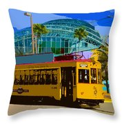 Tampa Trolley Throw Pillow