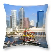 Tampa's Flag Ship Throw Pillow by David Lee Thompson