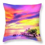 Tanah Lot Temple Sunset Bali Throw Pillow