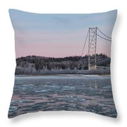 Tanana River With Pipeline - Early Morning Throw Pillow