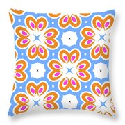 Tangerine And Sky Floral Pattern- Art By Linda Woods Throw Pillow