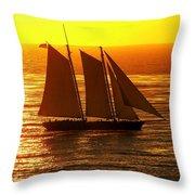 Tangerine Sails Throw Pillow