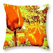 Tangerine Tulips Throw Pillow