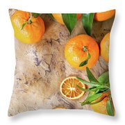 Tangerines With Leaves Throw Pillow