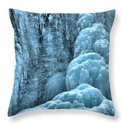 Tangle Falls Frozen In Blue Throw Pillow