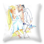 Tango Nuevo - Gancho Step - Dancing Illustration Throw Pillow