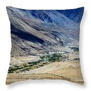 Tangsey Village Landscape Of Leh Ladakh Jammu And Kashmir India Throw Pillow