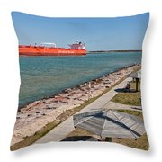 Tanker Transporting Crude Oil Throw Pillow