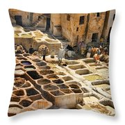Tanneries Of Fes Morroco Throw Pillow