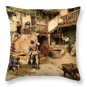 Tanners Workshop Throw Pillow