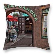 Taos Alley Cantina Throw Pillow