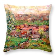 Taos By The River Throw Pillow
