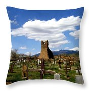 Taos Pueblo Cemetery Throw Pillow