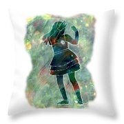 Tap Dancer 1 - Green Throw Pillow