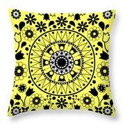 Tapiz Flores Black And White Throw Pillow