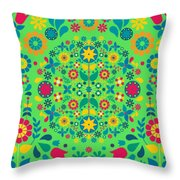 Flores Y Aves Throw Pillow