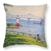 Tappan Zee Bridge And Light House Throw Pillow