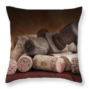 Tapped Out - Wine Tap With Corks Throw Pillow