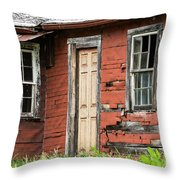 Tar-paper House Door And Windows Throw Pillow