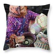 Tarahumara Basket Vendor Throw Pillow