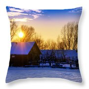 Tarchomin Sunset Throw Pillow by Tomasz Dziubinski