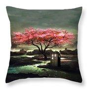 Tardis Blossom Throw Pillow