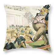 Tariff Lobbyist, 1897 Throw Pillow