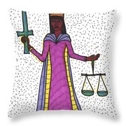 Tarot Of The Younger Self Justice Throw Pillow