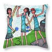 Tarot Of The Younger Self Three Of Cups Throw Pillow