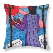 Tarot Of The Younger Self Two Of Wands Throw Pillow