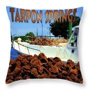 Tarpon Springs Postcard Throw Pillow
