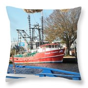 Tarpon Springs Shrimp Boat Throw Pillow