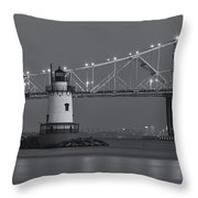 Tarrytown Lighthouse And Tappan Zee Bridge At Twilight II Throw Pillow