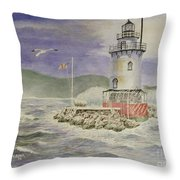 Tarrytown Lighthouse From The South Throw Pillow