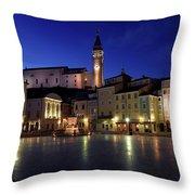 Tartini Square Plaza In Piran Slovenia With City Hall, Tartini S Throw Pillow