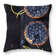 Tartlets With Blueberries Throw Pillow