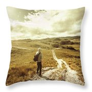 Tasmanian Man On Road In Nature Reserve Throw Pillow