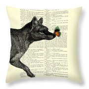 Tasmanian Tiger And Orange Butterfly Antique Illustration On Dictionary Page Throw Pillow